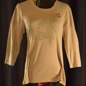 DKNY beige 3/4 Sleeved Puffed with logo L